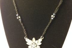 Fairy Flower on Macrame w/Crystal Beading